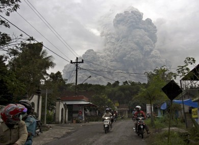 Mount Merapi is pictured erupting in October 2010. Merapi is one of two Indonesian volcanoes to have erupted over the weekend.