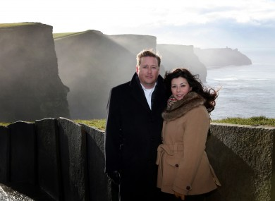 Kelly Stokes and Delia Garcia-Stokes at the Cliffs of Moher where their son was born prematurely