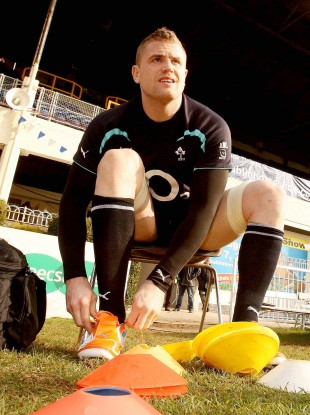 Togging out: Jamie Heaslip at training this morning.