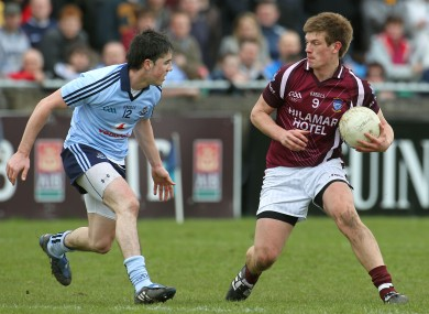 Heslin (right) takes on Dublin's Gary Sweeney in last year's U21 Leinster Football Final.