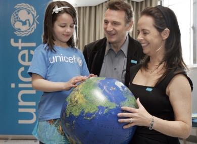 Liam Neeson, Melanie Verwoerd and friend announce Neeson's new role as a Unicef global ambassador