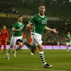 Robbie Keane celebrates scoring against Macedonia in the 2-1 win at the Aviva Stadium last Saturday.