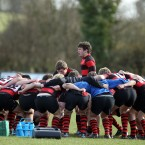 The Kilkenny College team huddle up before their Senior Cup Plate Final.<span class=