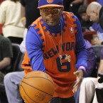 Spike Lee hands back the ball during the New York Knicks game with Miami Heat in South Beach last Sunday.<span class=