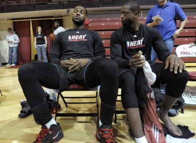 LeBron James and Dwayne Wade chill out before their game in Philly last night.