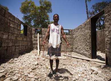 Constructing a rubble house in Haiti's capital.