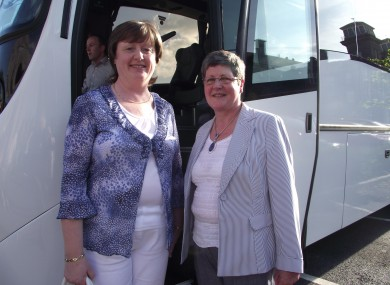 Catriona McGoldrick and Valerie Finan with the bus they campaigned for