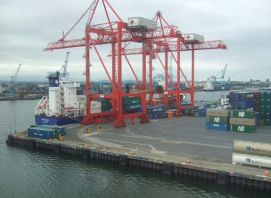 A container ship unloading at Dublin Port