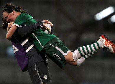 Campbell (right) celebrates with Amanda Budden after their 3-0 win over Ghana in last year's U17 World Cup.