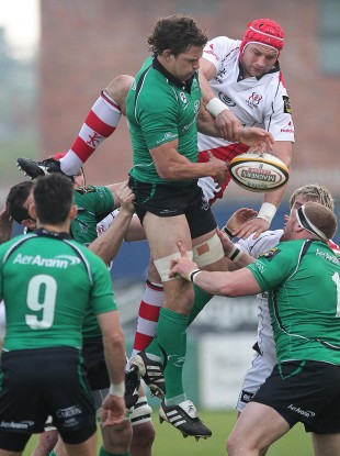 Ulster's Rory Best with Connacht's Mike McCarthy