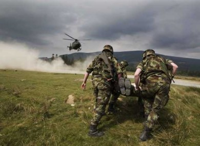 Irish Defence Forces undergoing training today at the Glen of Imaal in Co Wicklow.