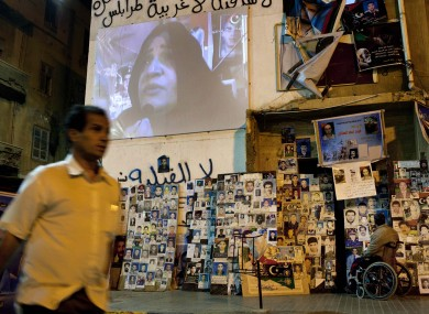 A big screen shows Libya Alhurra TV in the centre of Benghazi last night