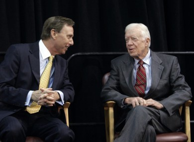 John L Lahey (left) speaks with former US president Jimmy Carter before an event at the former's Quinnipiac University.