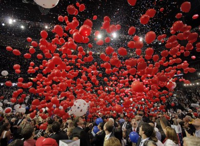 Balloons fall at the 2008 Republican National Convention in Minnesota.