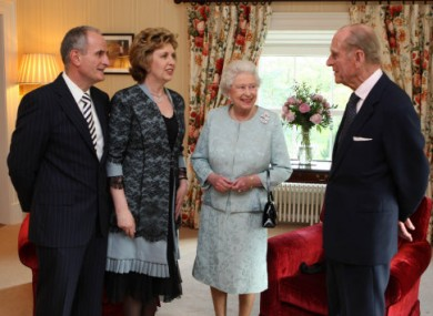 President Mary McAleese and her husband Martin meet with Queen Elizabeth and her husband Philip at Hillsborough Castle in May 2009.