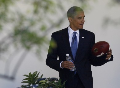 There'll be no time for footballs of any shape during President Obama's visit, according to a report this morning.