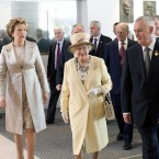 Queen Elizabeth II pictured with President Mary McAleese and GAA President Christy Cooney at Croke Park. <span class=