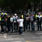 Protesters wait near the stadium. (pic @skynewshack)