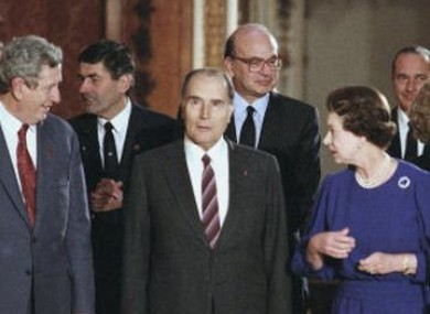 File photo of Taoiseach Dr Garret FitzGerald meeting with French President Francois Mitterrand and Britain's Queen Elizabeth at Buckingham Palace in 1986