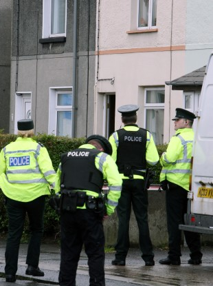 Police at the scene of the shooting on Hazelbrook Avenue, Bangor, Co. Down