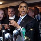 Obama drinks a Guinness at Ollie Hayes's pub in Moneygall. (AP Photo/Charles Dharapak)
