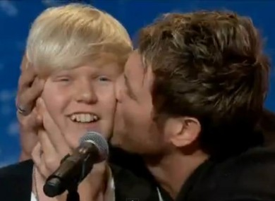 Brian McFadden plants a smacker on Jack 'Baby Bieber' Vidgen at his audition