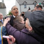 Barack and Michelle Obama took time out to meet the locals from his great-great-great grandfather Falmouth Kearney's native town of Monygall in Co Offaly. (Pic: Maxwells)
