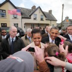 US President Barack Obama and his wife Michelle greet well wishers in Moneygall, Co Offaly. (Pic: Maxwells)