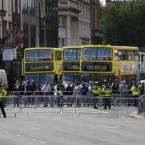 Traffic was backed up in Dublin city centre as O'Connell Bridge was closed off for over an hour this morning. (Pic: Brian O'Leary/Photocall Ireland)