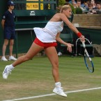 The rule for all tennis players having to wear white is fairly straight forward. Other colors are permitted provided that most of the uniform is white. France's Tatiana Golovin pushed the boundaries of those rules to the fullest extent in 2007. Her red undershorts were featured prominently which brought the ire of some Wimbledon officials.
