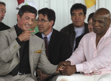 Sly Stallone and Mike Tyson at the ceremony yesterday.