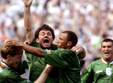 Ray Houghton celebrates scoring against Italy in the 1994 World Cup.