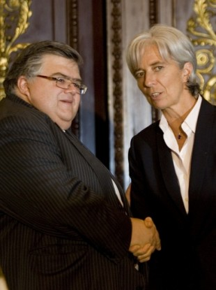 The finalists: Augustin Carstens and Christine Lagarde meeting in 2008.