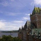 French tightrope walker Ramon Kelvink Jr crossed a high wire stretched from the Price Building to the Chateau Frontenac hotel as part of Quebec's summer fesetival in July 2009. The rope was suspended some 50 metres (164 feet). (AP Photo/The Canadian Press,Clement Allard)