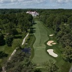 This hole is likely to play as one of the toughest par 4s on the course. The fairway has been shifted to the right, up against the stream. The left half of the fairway in the drive zone slopes sharply left to right. The player who can play his tee shot on the flat right side of the drive zone will have a distinct advantage playing his approach shot into this very narrow green. While this is one of the flattest greens on the course, a pond lurks on the right side of the green. There will likely be many bailouts to the left, which will leave one of the more difficult recoveries at Congressional because of the narrow green.
