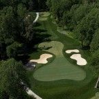 This par 3 features a mid-iron tee shot that plays slightly uphill to a heart-shaped green with three distinct sections. Players who are long with their tee shots to the narrow front-center hole location will find it very difficult to make par because of the steep back-to-front pitch of the green.