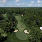Despite this hole's length, some players may hit less than a driver because the fairway gradually narrows in the drive zone. The mid-iron approach shot is to an elevated green that is one of the toughest on the course. If the player is successful in hitting the green in regulation, he will still have work to do on this very undulating green that slopes sharply from back to front.