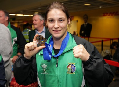Katie Taylor shows off one of her European Union medals (file photo).