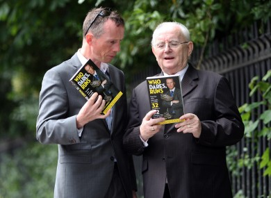 Deca Ironman champion Gerry Duffy (left), pictured at the launch of his book last month with RTÉ sportscaster Jimmy Magee.