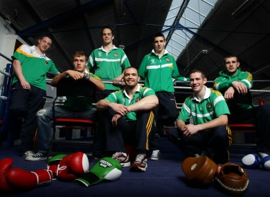 (L-R) Ray Moylette, Michael McDonagh, Darren O'Neill, Cathal McMonagle, Michael Conlan, Willie McLaughlin and Con Sheehan.