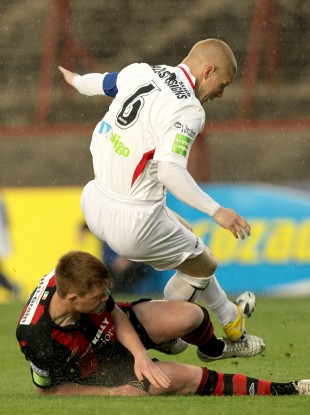 Bohemians' Danny Joyce was shown a red card for this tackle on