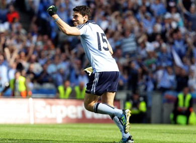 Dublin's Bernard Brogan celebrates scoring the winning point from a free kick during the final moments of the match.