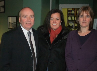 Rosie O'Donnell (centre) pictured with Mario Corrigan, executive librarian of Newbridge Library, and Karel Kiely, who helped research her family's history.