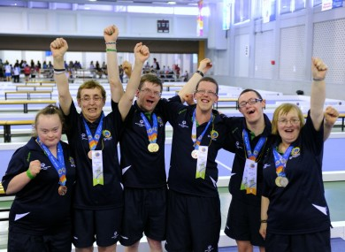 The Irish bocce team celebrate with their medals