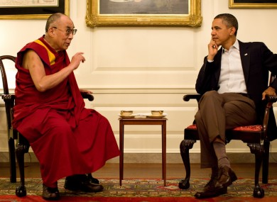 The Dalai Lama at an informal meeting with President Obama on Saturday.