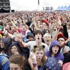 The crowd watching 'Weezer' playing on the Main Stage today at Oxegen 2011. (Mark Stedman/Photocall Ireland)