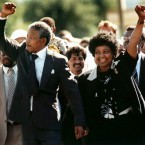 Mandela and wife Winnie on his release from prison (Greg English/AP)