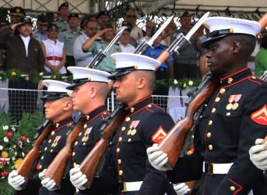 US marines on parade