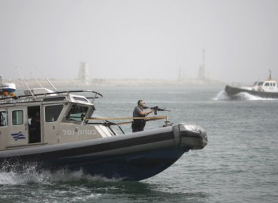 File photo of Israeli security on a naval boat in March 2010.