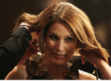 Michele Bachmann preparing for a television interview last year.